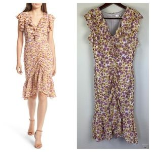 NWT WAYF Daphine Ruffle Ruched Floral Midi Dress